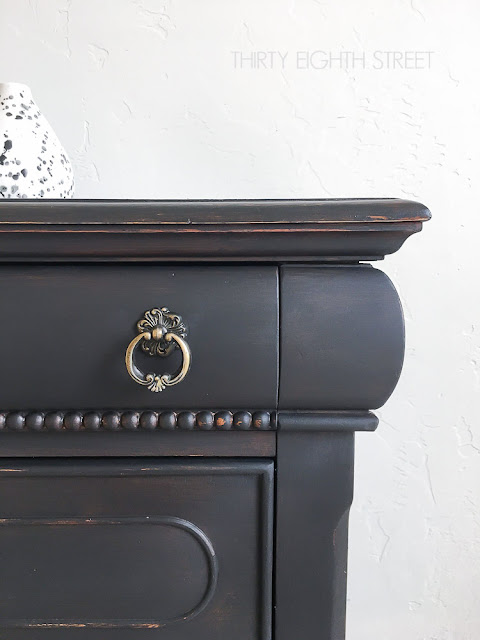black painted furniture, black distressed furniture, black and wood furniture, black weathered furniture, black painted nightstand, distressing ideas