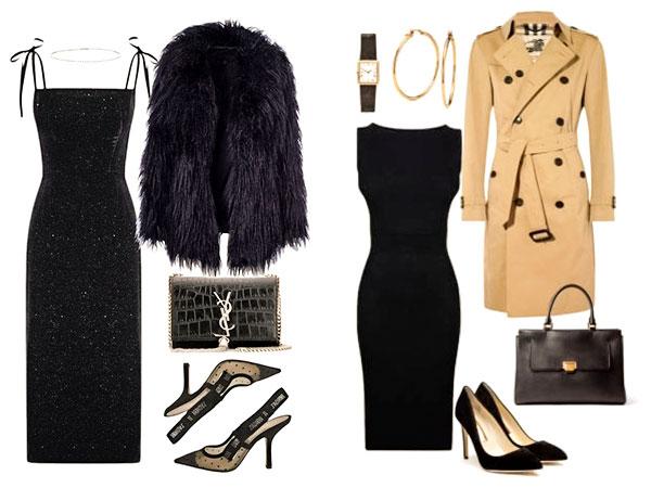 черное платье и пальто