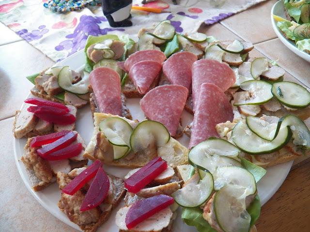 Smørrebrød with Frikadeller, Agurk Salat, Salami