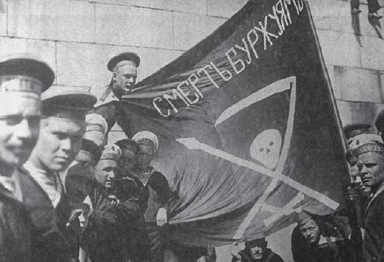 Russian Sailors and their anarchist flag