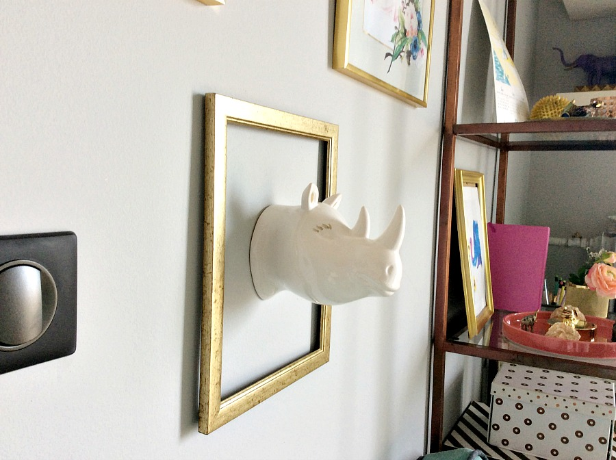 Hippo head in a gold frame