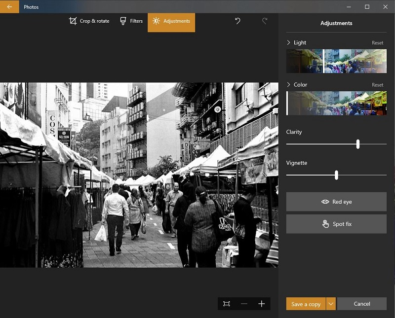 Microsoft Photos Edit & Create interface