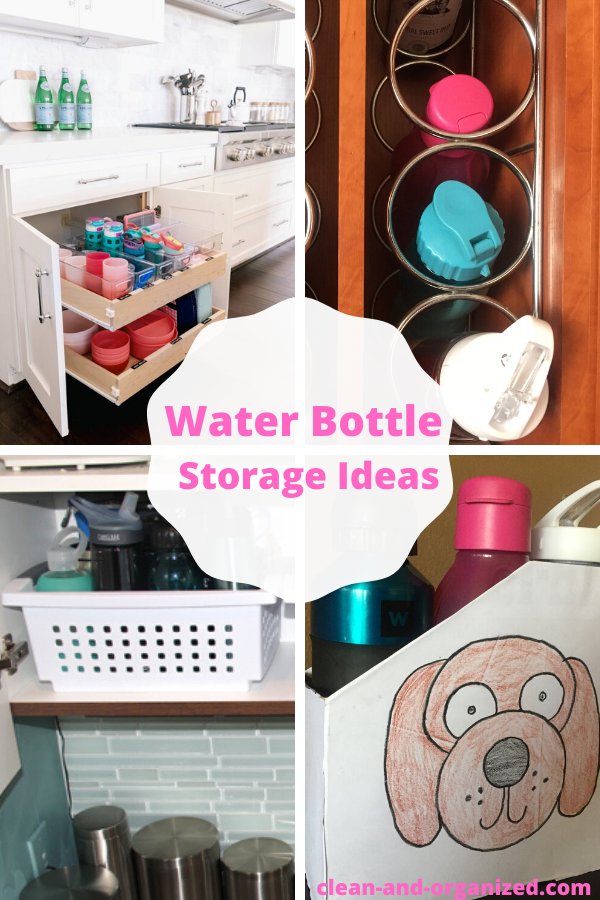 Water bottle storage ideas and solutions - which also incude DIY water bottle organizers that you can make at  home.