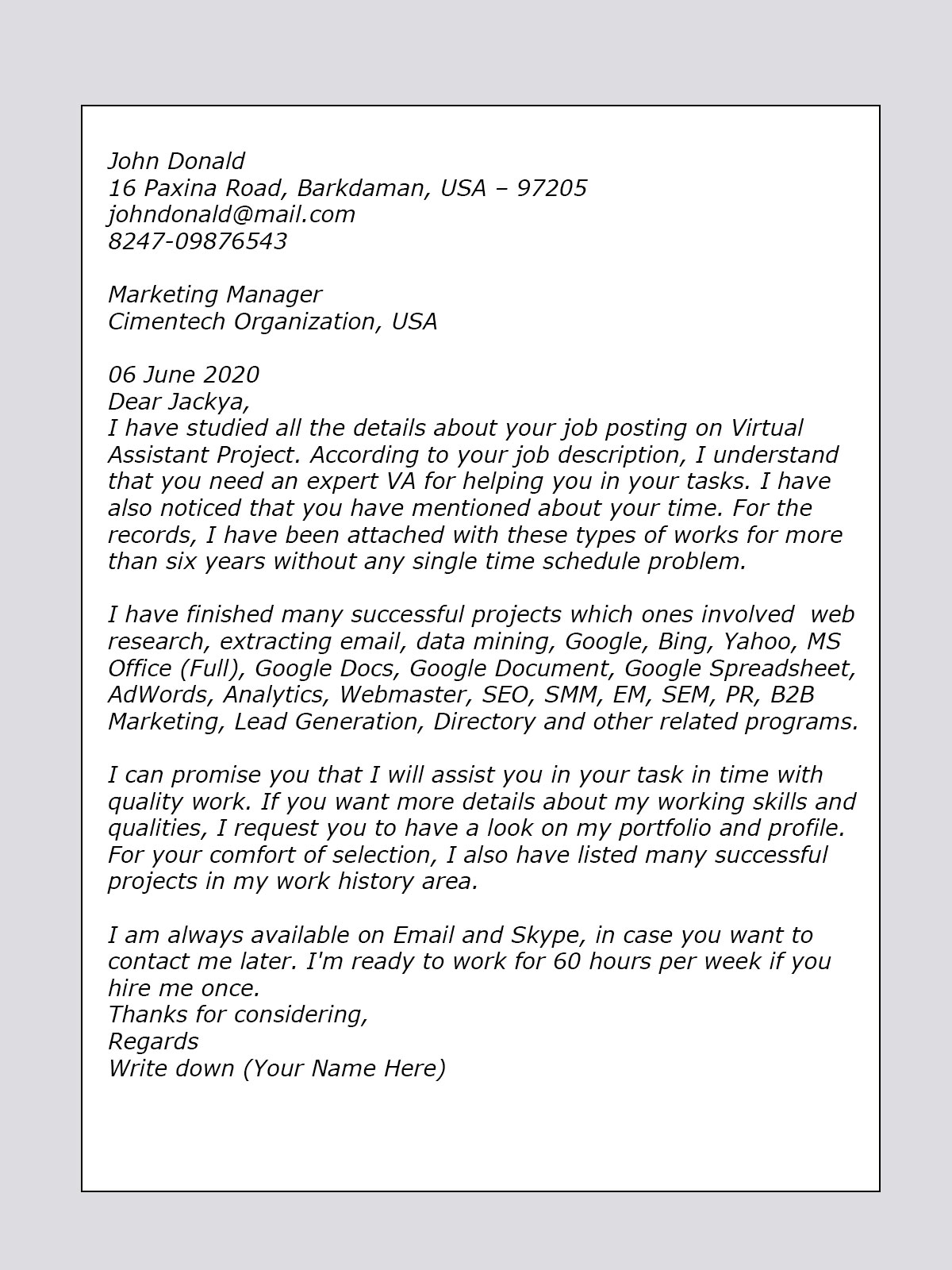Virtual Assistant Resume Cover Letter List Of Accomplishments Ideas