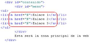 Lista de enlaces en HTML