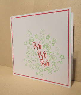 CAS Christmas card, Ho Ho Ho in red with green swirls