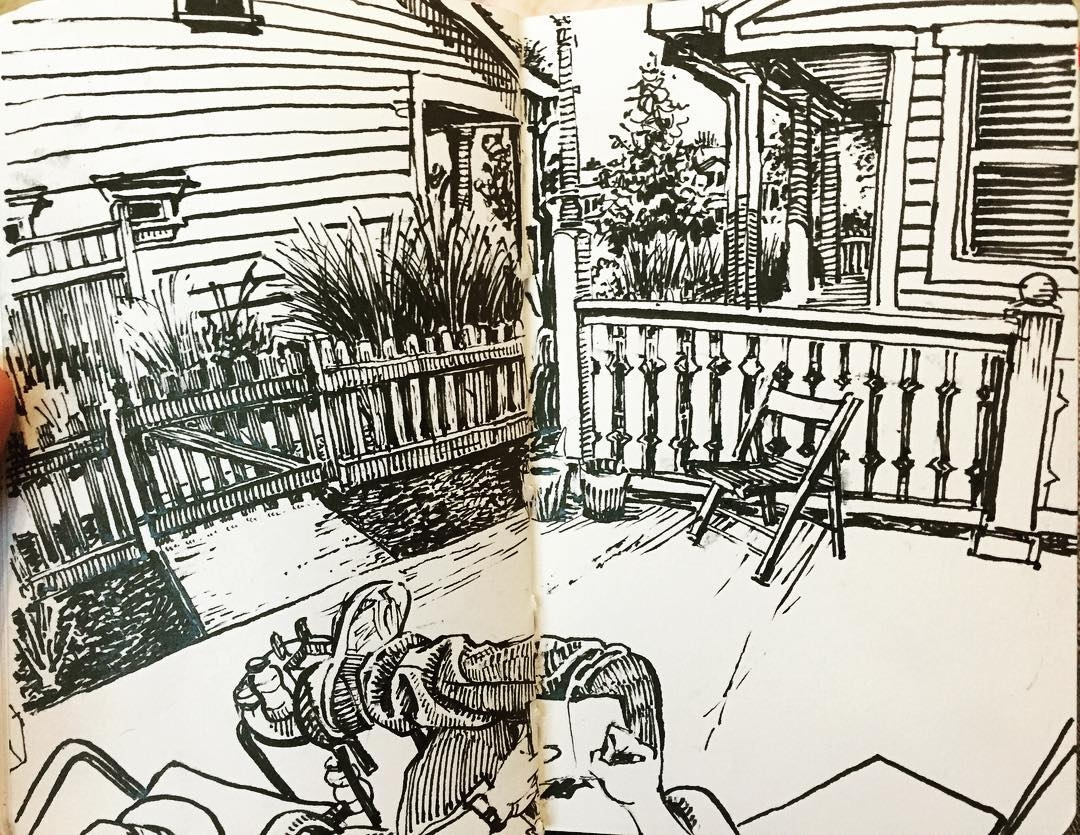 09-Front-Porch-Paul-Heaston-Urban-Sketcher-Inserts-Himself-in-the-Drawing-www-designstack-co