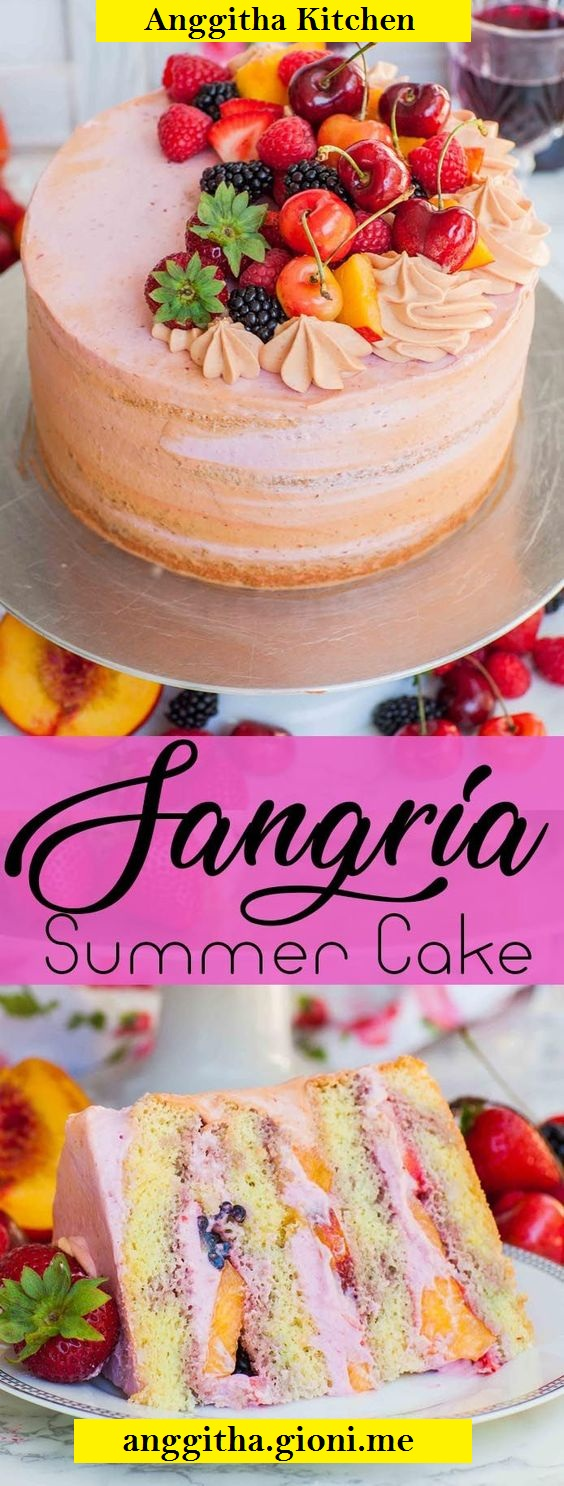 Easy Summer Fruit Sangria Cake Recipe