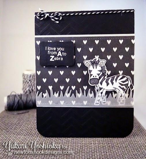 A to Zebra Black and White Valentine Card by Yukari Yoshioka | Newton's Nook Designs | Wild about Zoo Stamp Set