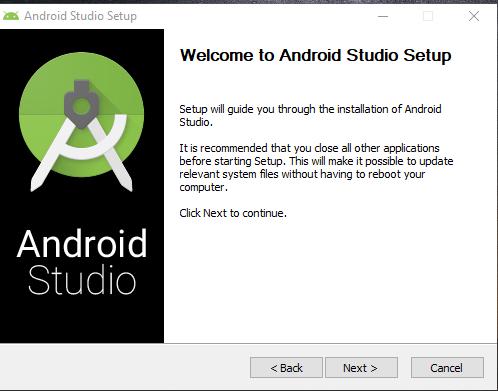 wellcome screen installer android studio