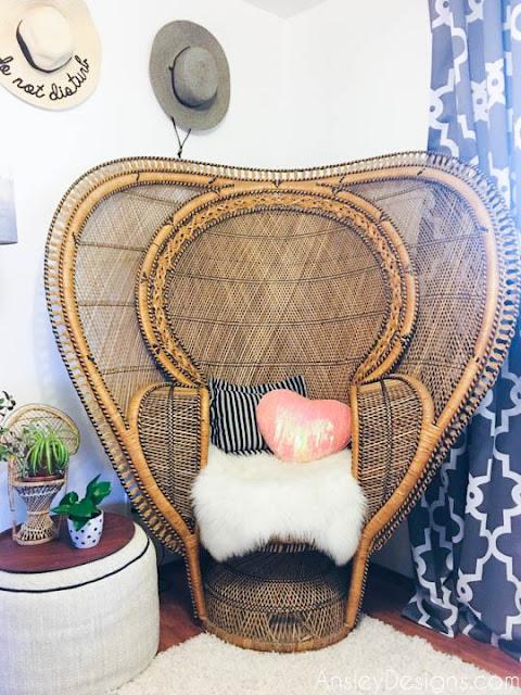 Boho vintage wicker peacock cobra chair with sheepskin rug bohemian