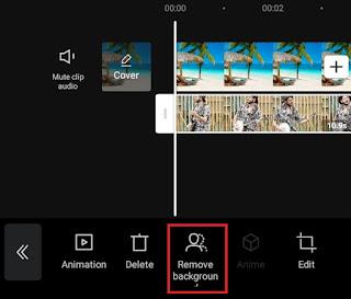 tap remove background menu