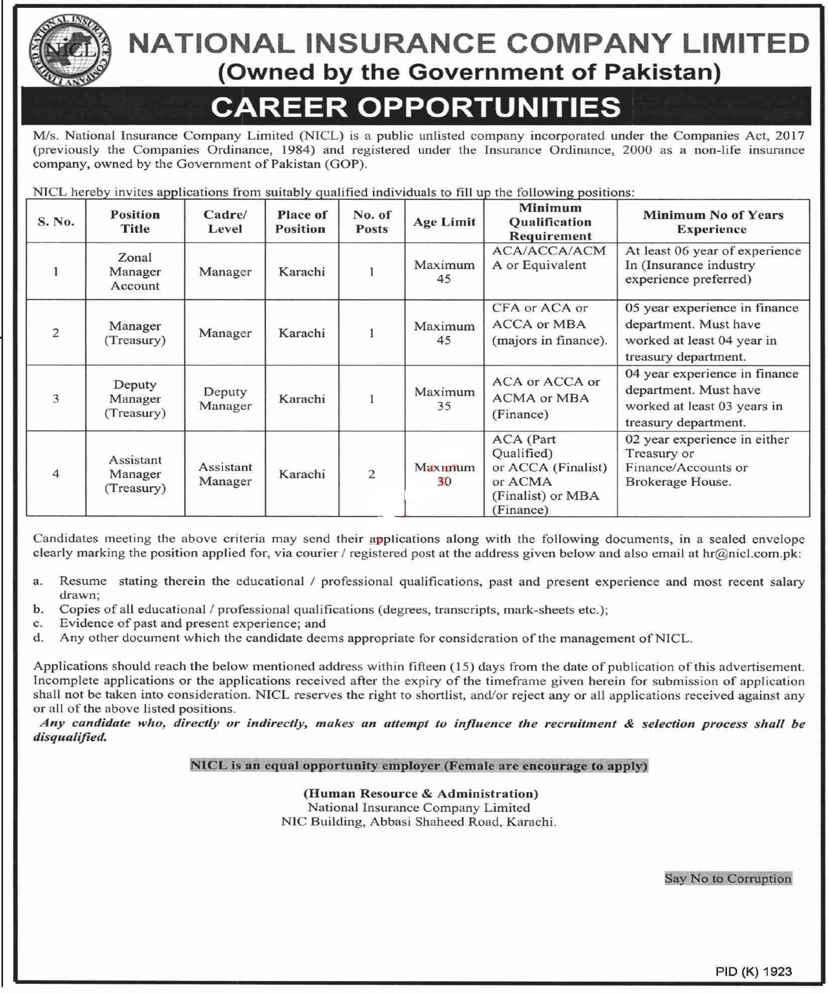 National Insurance Company NICL Karachi Jobs 2021 for Managers Latest