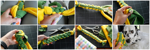 Step-by-step instructions for how to make cobra knot woven fleece dog toy