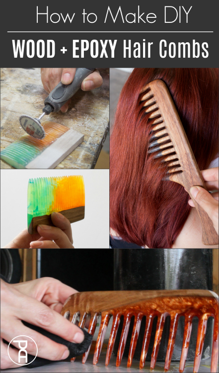How to make wood and epoxy resin live edge hair and beard combs following this easy video tutorial