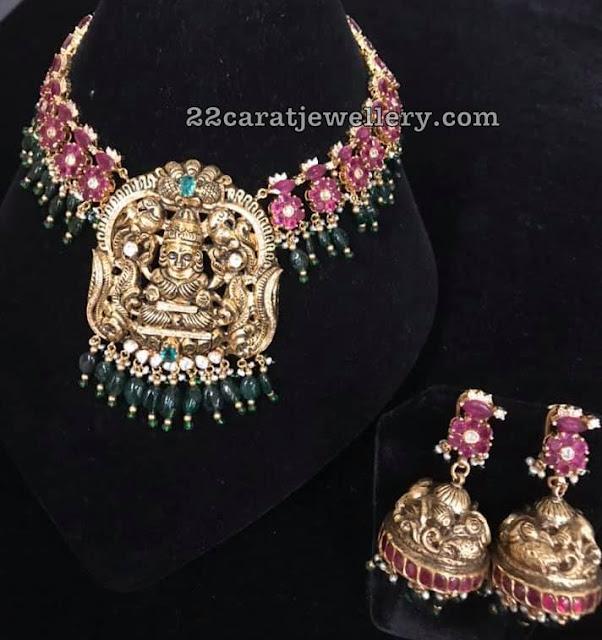 Floral Choker with Nakshi Lakshmi