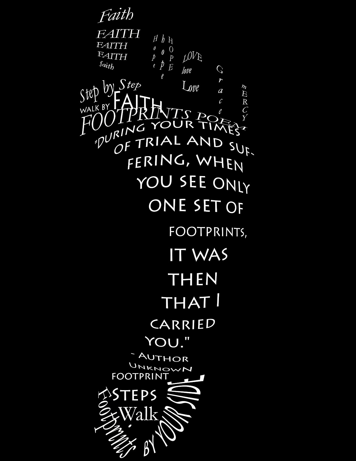 Black And White In The Sand Poem Footprints | Quote Addicts
