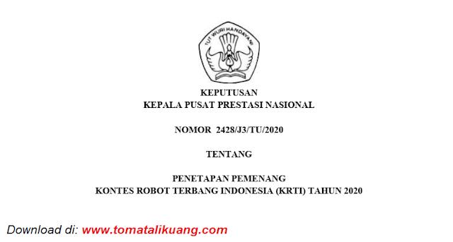 sk pemenang kontes robot terbang indonesia krti tahun 2020 pdf tomatalikuang.com