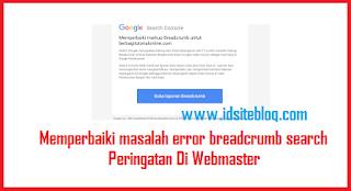 Peringatan webmaster dalam perbaikan Breadcrumb