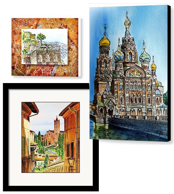 World watercolors illustrations