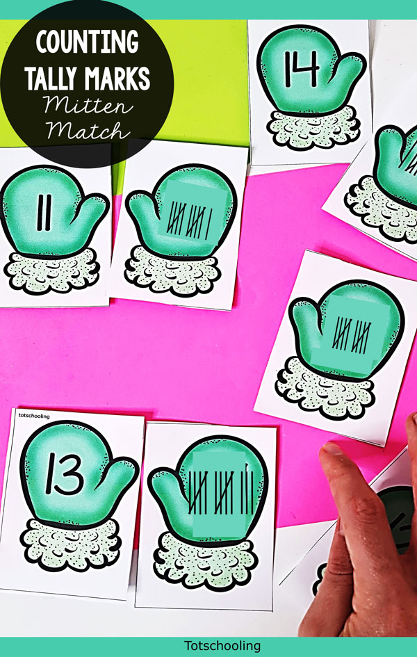 FREE printable Teen Numbers activity with a winter theme. Find matching pairs of mittens that have the correct number of tally marks.