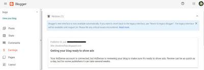 koneksi AdSense dan Blogger di Tab Penghasilan