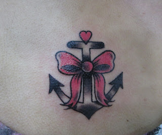 anchor and ribbon tattoo