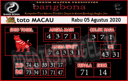 Prediksi Bangabona Togel Macau Rabu 05 Agustus 2020