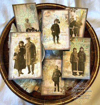 Sara Emily Barker https://sarascloset1.blogspot.com/2019/12/quick-christmas-cards-with-tim-holtz.html Mixed Media Christmas Cards #timholtz #stamperia 15
