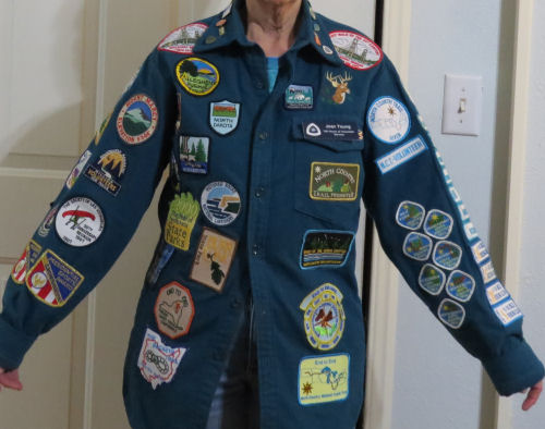 jacket covered with embroidered patches