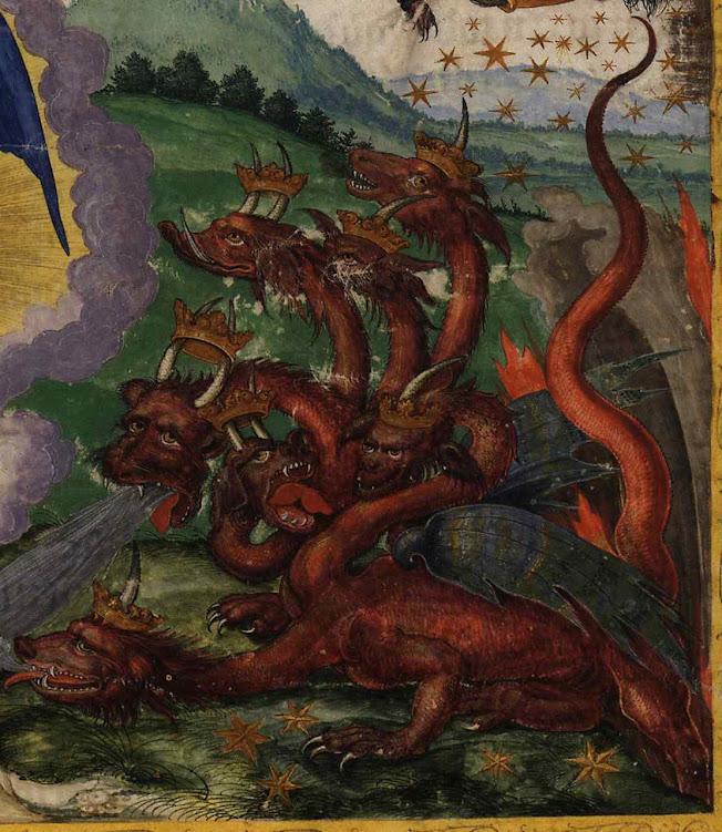A besta de sete cabeças e 10 chifres ou coroas. Ottheinrich-Bibel 11, Bayerische Staatsbibliothek, Cgm 8010, Folio295r_Rev12
