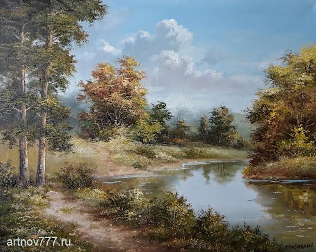 Картина маслом, Тихая лесная река, Г. Новицкий