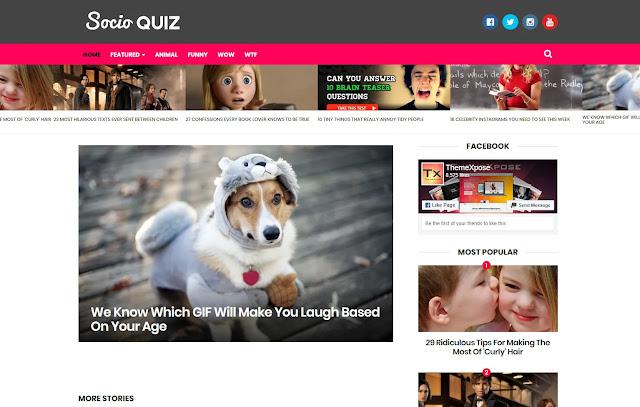 Socio Responsive Personal Blog Magazine News Blogger Template Theme