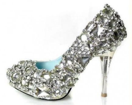 Diamond Wedding Shoes Silver Fancy