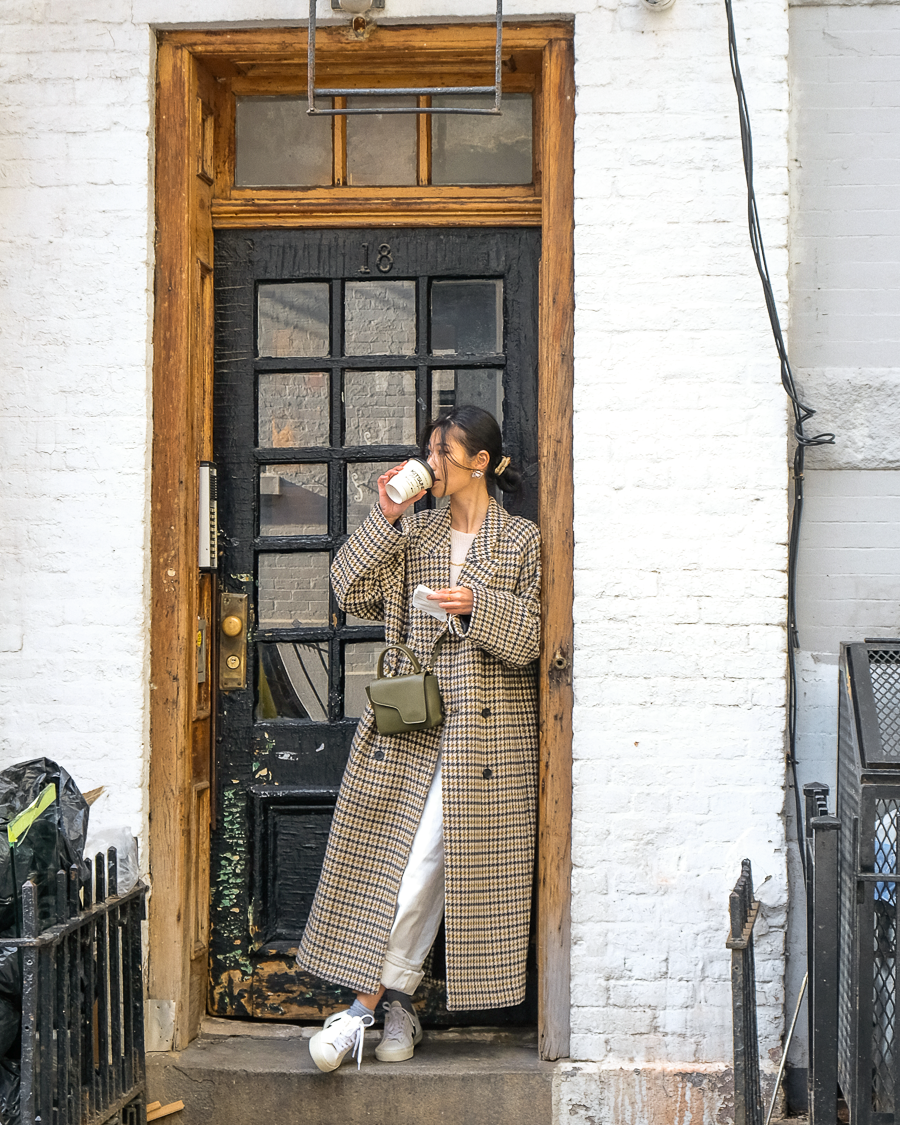 Plaid coat and Veja sneakers in West Village New York, Van Le - FOREVERVANNY.com