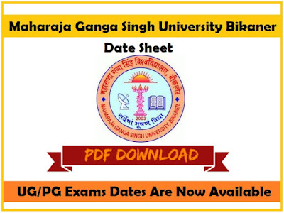 MGSU Time Table 2019 PDF