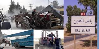 """مرتزقة """" الجيش الوطني السوري """" يبدءون بحفر الخنادق ويستولون على آليات زراعية في رأس العين/ سري كانيه"""