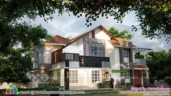 3d rendering of mix roof style Villa type B