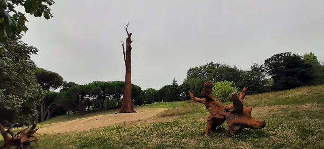 Obra de arte Pequi Vinagreiro no relvado com árvores à sua volta