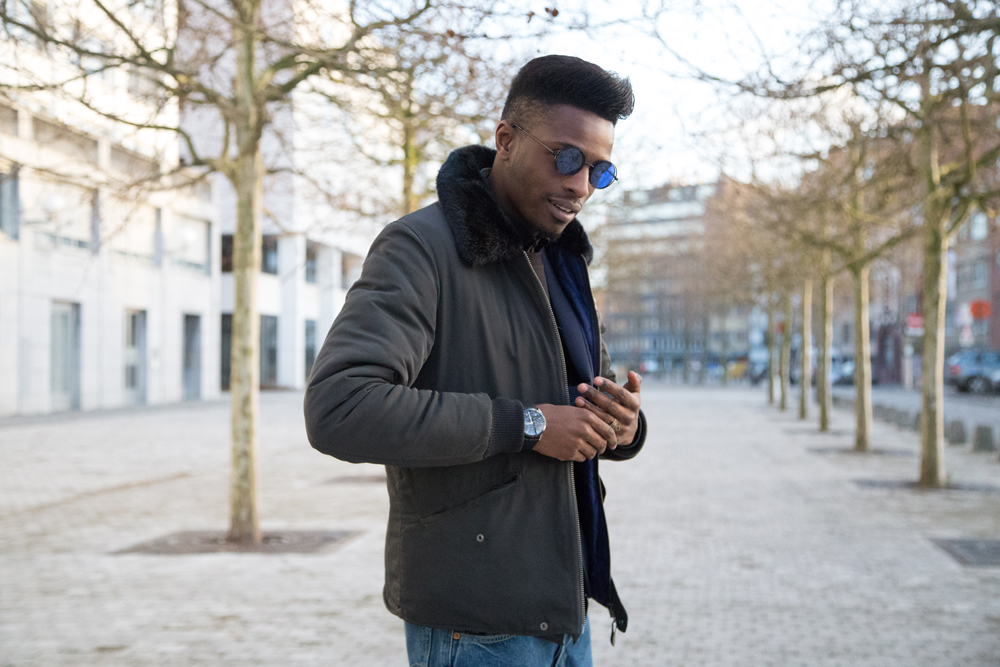 JON THE GOLD | ICONIC 501 | Levi's 501ct customized and tapered - Jonathan is wearing native youth jacket , WE FASHION neoprene blazer, SECTION STORE sweater, MEXX shirt, 501 ct levis jeans , lord eston dress shoes oris watch freyrs sunglasses - Jonathan Zegbe Menswear blogger and founder of JON THE GOLD BLOG