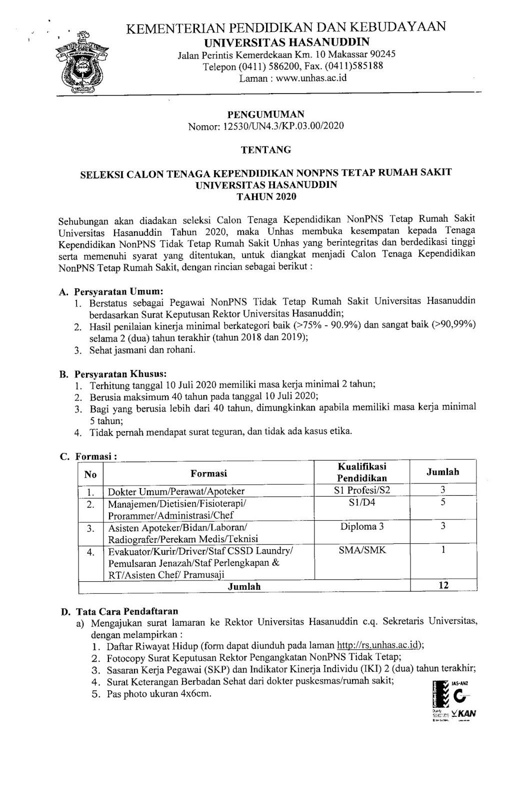 Lowongan Kerja Non PNS Rumah Sakit Universitas Hasanuddin Tingkat SMA SMK D3 S1 Juli 2020