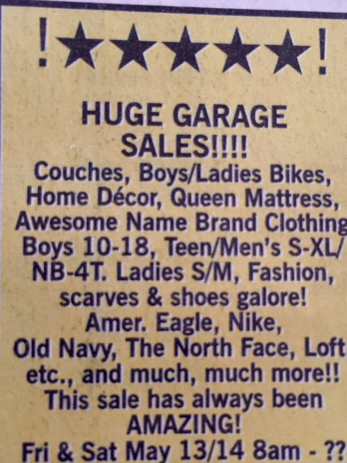Living on cloud nine garage sale 101 for Garage ad nancy