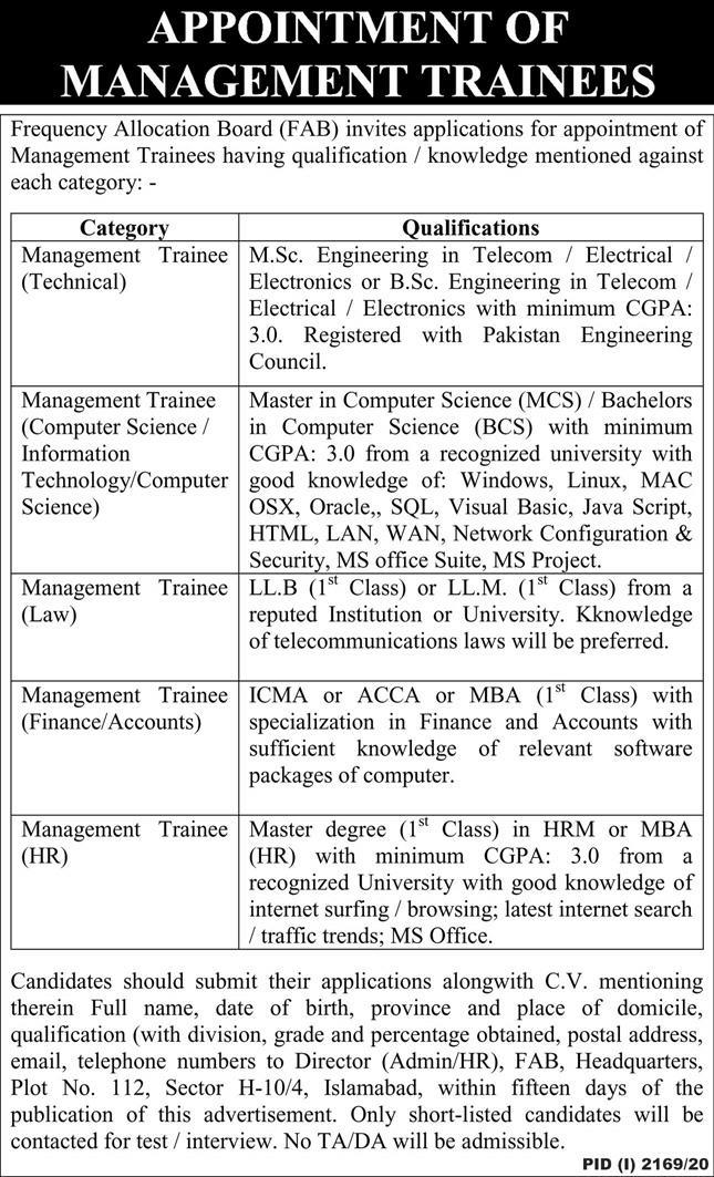 Frequency Allocation Board FAB Latest  Advertisement Jobs in Pakistan