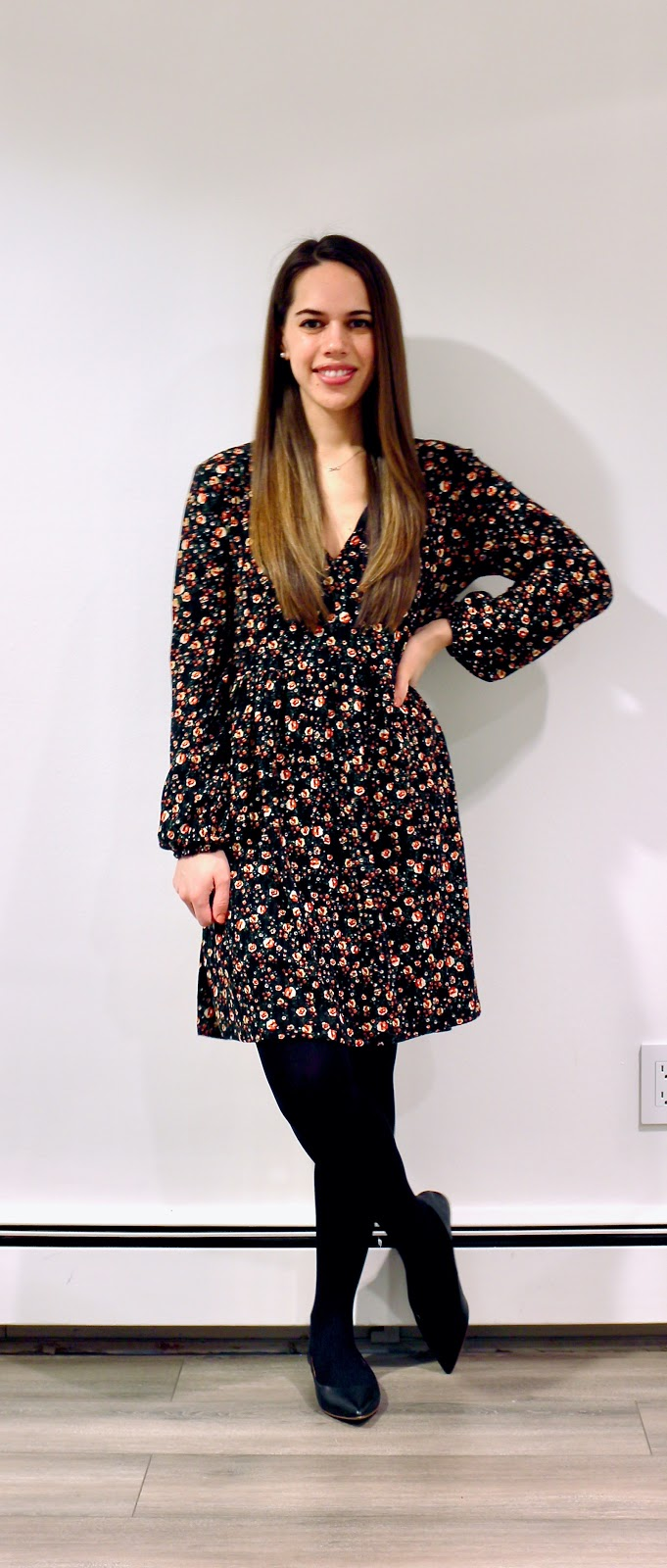 Jules in Flats - Zara Floral Mini Dress (Business Casual Winter Workwear on a Budget)