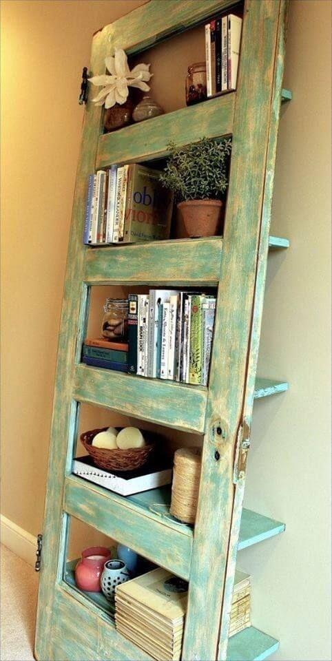 15 Brilliant DIY Ways To Upcycle Your Door - Bookshelf