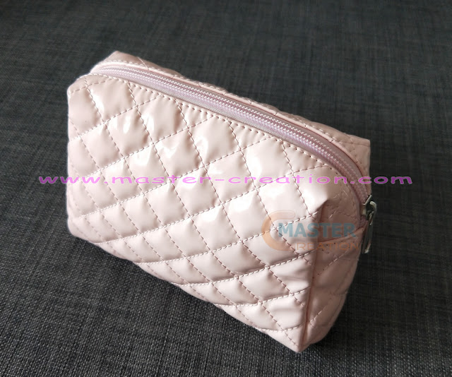 quilted pink cosmetic bag