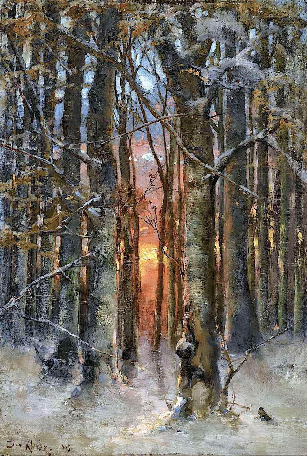 Julius von Klever art, a winter forest with sun through trees