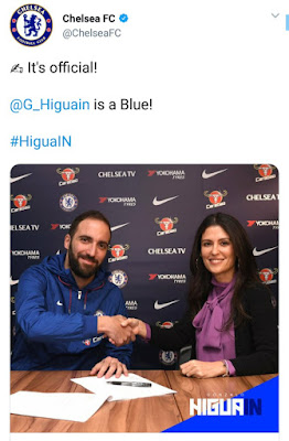 Chelsea have announced the signing of striker Gonzalo Higuain from Juventus on loan.