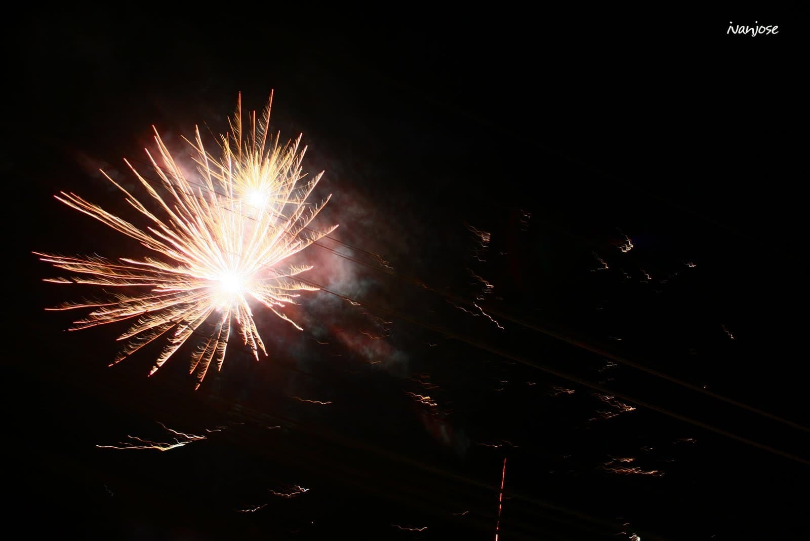 A dramatic shot of fireworks after an inauguration in Mindanao