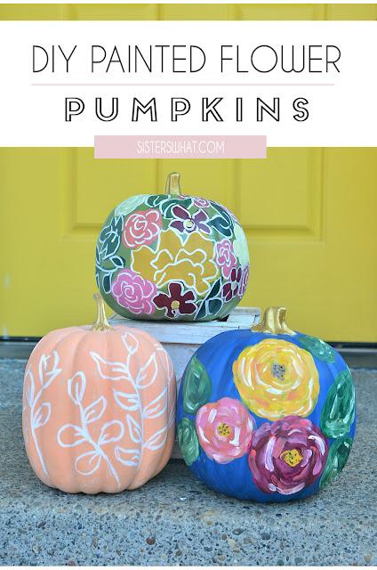 DIY Painted Flower Pumpkins